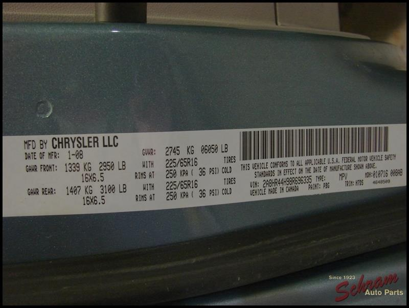 2008 Chrysler Town Country Electronic Chassi Control Module